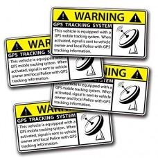 4 MINI GPS Vehicle Car Alarm Security Sticker Caution War...