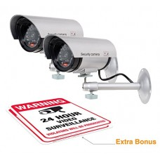 (2 Pack) Dummy Security Camera, Fake Bullet CCTV Surveill...